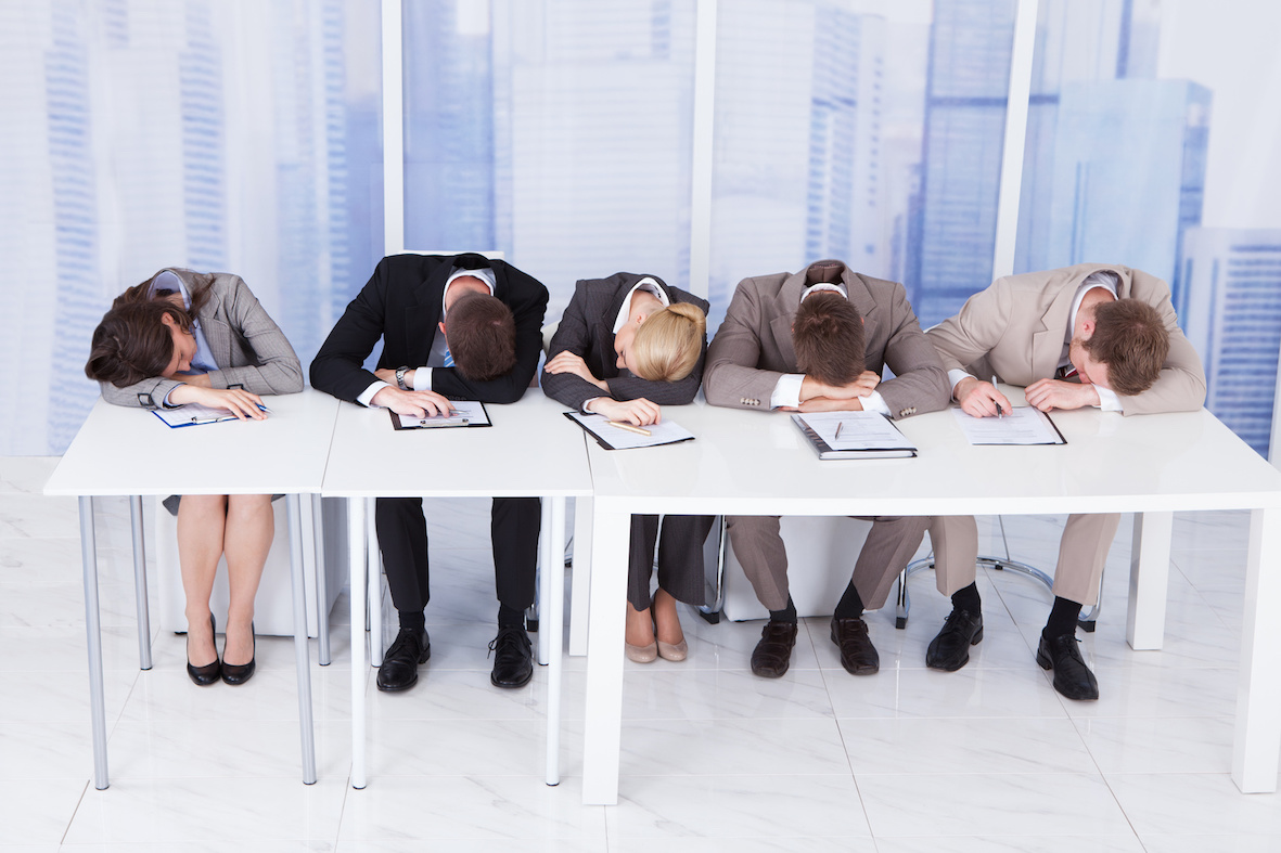 Tired Corporate Personnel Officers At Table